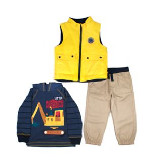 Toddler Boy Little Rebels Vest, Striped Hoodie & Khaki Pants Set