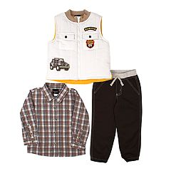 Toddler Boy Little Rebels Vest, Plaid Shirt & Pants Set