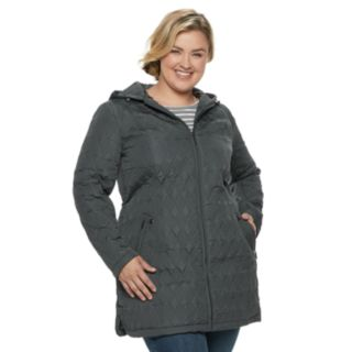 Plus Size Weathercast Modern Hooded Quilted Anorak Jacket