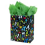 """Hallmark """"Black Letters"""" Large Birthday Gift Bag with Card & Tissue Paper"""
