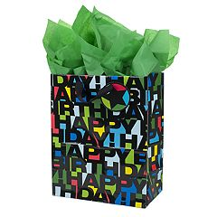 Hallmark 'Black Letters' Large Birthday Gift Bag with Card & Tissue Paper