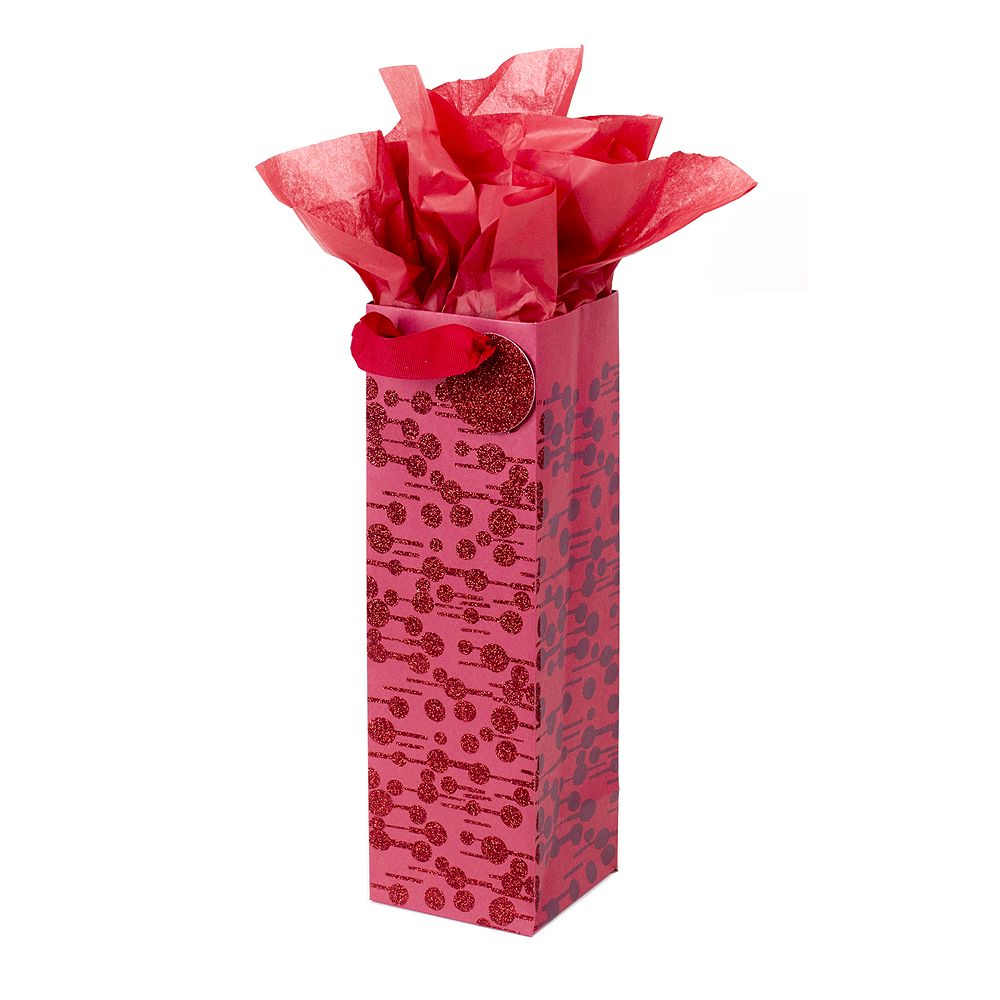 """Hallmark """"Dots and Dashes"""" Bottle Gift Bag with Tissue Paper"""