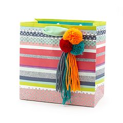 Hallmark Signature 'Pom Pom Tassel' Medium Gift Bag