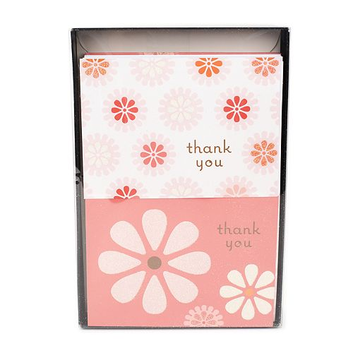 hallmark 50 count pink flowers thank you note set