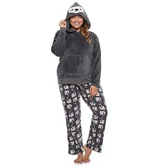 Plus Size SO® Sherpa Sloth Hoodie & Pants Pajama Set