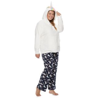 Plus Size SO® Sherpa Unicorn Hoodie & Pants Pajama Set