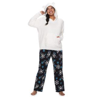 Plus Size SO® Sherpa Bear Hoodie & Pants Pajama Set