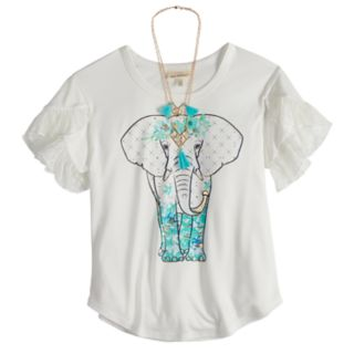 Girls 7-16 Self Esteem Tiered Sleeve Graphic Tee with Necklace