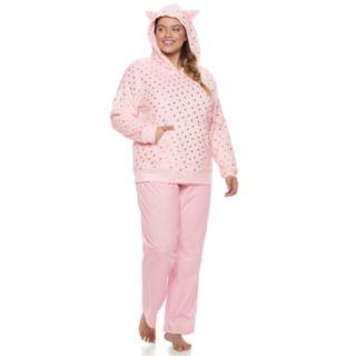 Plus Size SO® Plush Cat Hoodie & Pants Pajama Set