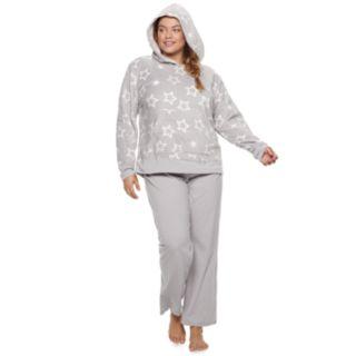 Plus Size SO® Plush Hoodie & Pants Pajama Set