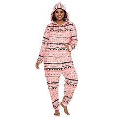 Plus Size SO® Printed Plush One-Piece Pajamas