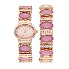 Women's Faceted Stone & Crystal Accent Stretch Watch & Bracelet Set