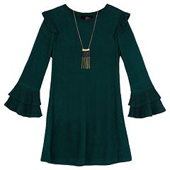 Girls 7-16 IZ Amy Byer Ruffled Bell Sleeve Dress with Necklace