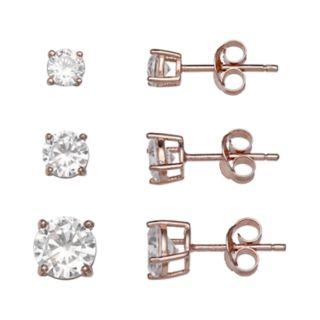 PRIMROSE 18k Rose Gold Over Silver Cubic Zirconia Stud Earring Set