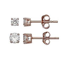 PRIMROSE 18k Rose Gold Over Silver Cubic Zirconia Stud Earring Set