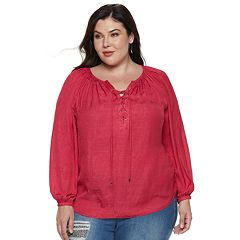 Plus Size Jennifer Lopez Lace-Up Satin Peasant Top
