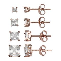 PRIMROSE 18k Rose Gold Over Silver Cubic Zirconia Square Stud Earring Set
