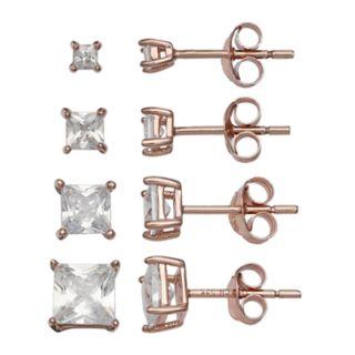 PRIMROSE 18k Rose Gold Over Silver Cubic Zirconia Square Stud Earring Set