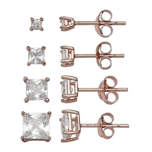 07c674339fa PRIMROSE 18k Rose Gold Over Silver Cubic Zirconia Square Stud Earring Set