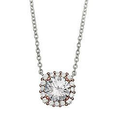 PRIMROSE Two Tone Sterling Silver Cubic Zirconia Square Necklace