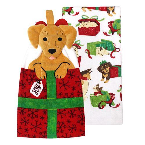 St. Nicholas Square® Dog Tie-Top Kitchen Towel 2-pack