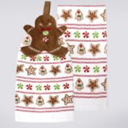St. Nicholas Square® Gingerbread Tie-Top Kitchen Towel 2-pack