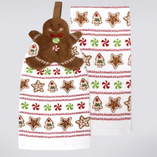 St. Nicholas Square® Gingerbread Tie-Top Kitchen Towel 2-pack