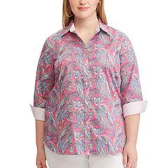 Plus Size Chaps Striped No-Iron Broadcloth Shirt