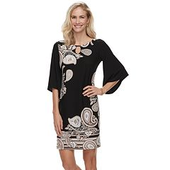 Women's Dana Buchman Paisley Bell-Sleeve Shift Dress