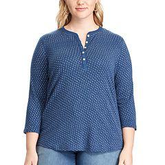 Plus Size Chaps 3/4-Sleeve Henley