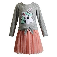 Girls 4-14 Youngland Unicorn Sweater & Tulle Dress