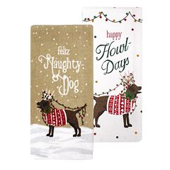 St. Nicholas Square® Naughty Dog Kitchen Towel 2-pack
