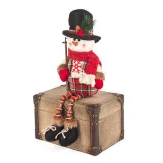 "Snowflake Plaid 15"" Sitting Snowman Floor Decor"