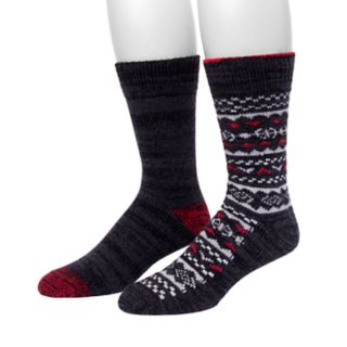 Men's Climatesmart by Cuddl Duds® 2-pack Fairisle & Space-Dye Crew Socks