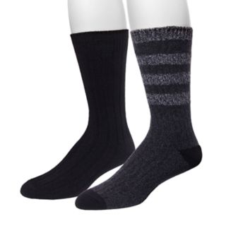 Men's Climatesmart by Cuddl Duds® 2-pack Rugby-Striped & Solid Crew Socks