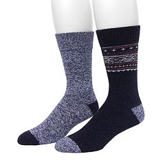 Men's Climatesmart by Cuddl Duds® 2-pack Fairisle & Twist Crew Socks