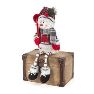 "Moose Plaid 15"" Sitting Snowman Floor Decor"