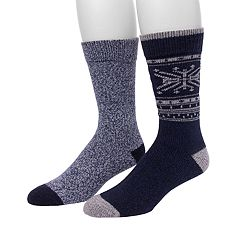 Men's Climatesmart by Cuddl Duds® 2-pack Fairisle Snowflake & Twist Crew Socks