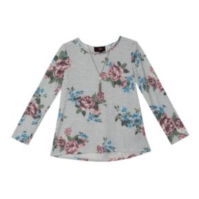 Girls 7-16 IZ Amy Byer Floral Lace-Up Back Top with Necklace