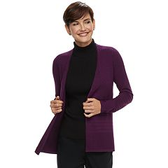 Women's Dana Buchman Mixed-Stitch Open Front Cardigan