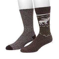 Men's Climatesmart by Cuddl Duds® 2-pack Moose & Twist Crew Socks