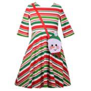 Girls 4-6x Bonnie Jean Striped Dress & Snowman Purse Set