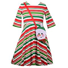 Girls 4-6x Bonnie Jean Striped Dress & Snowman Purse Set