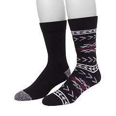 Men's Climatesmart by Cuddl Duds® 2-pack Fairisle & Solid Crew Socks