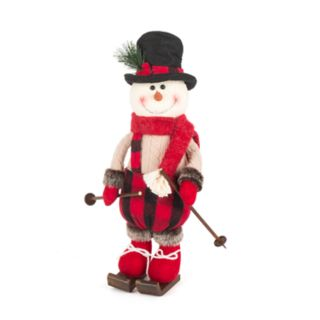 "Skiing 15"" Plaid Standing Snowman Floor Decor"