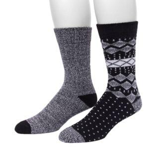 Men's Climatesmart by Cuddl Duds® 2-pack Fairisle & Twist Crew Socks