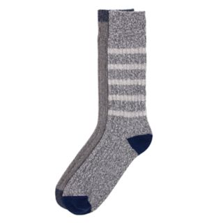 Men's Climatesmart by Cuddl Duds® 2-pack Striped & Ribbed Crew Socks
