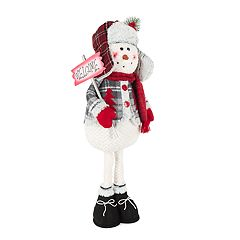 Welcome Plaid 27' Standing Snowman Floor Decor