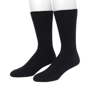 Men's Climatesmart by Cuddl Duds® 2-pack Solid Ribbed Crew Socks