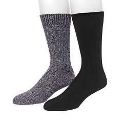 Men's Climatesmart by Cuddl Duds® 2-pack Solid Ribbed & Twist Crew Socks
